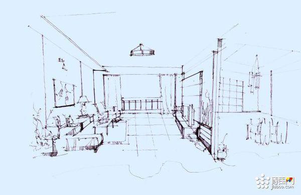 手绘电脑桌面壁纸 此图为黑白色的, 简单的几笔就勾勒出了一个房间的