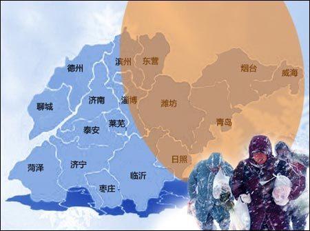 山东半岛冷流降雪区域示意图