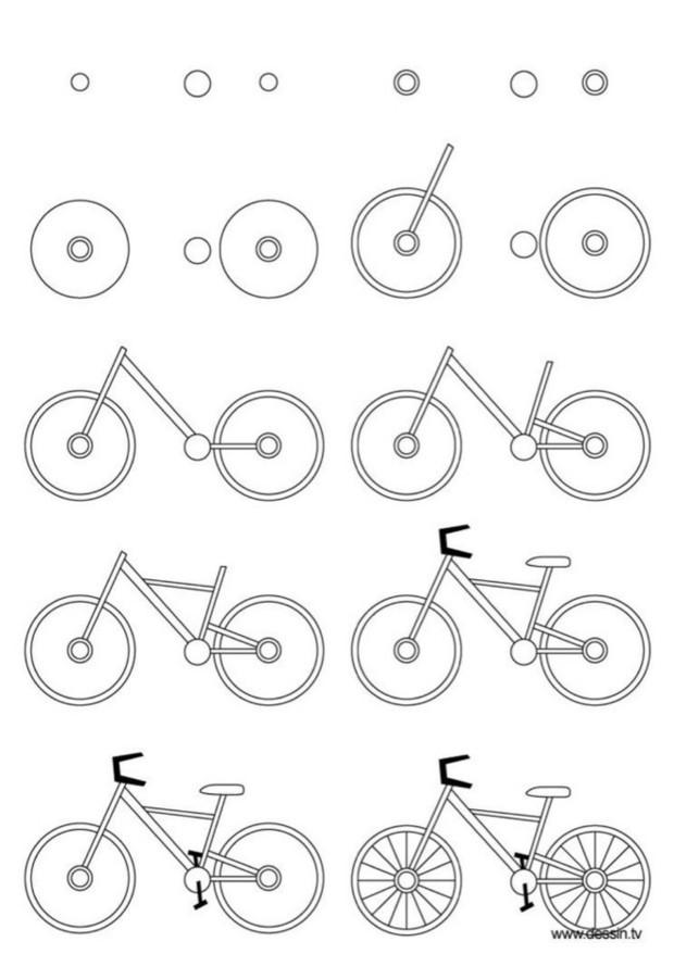 自行车简笔画的画法及步骤