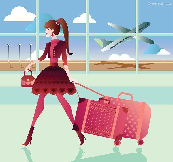 女孩行李箱图片唯美图片_拖着行李箱的女孩