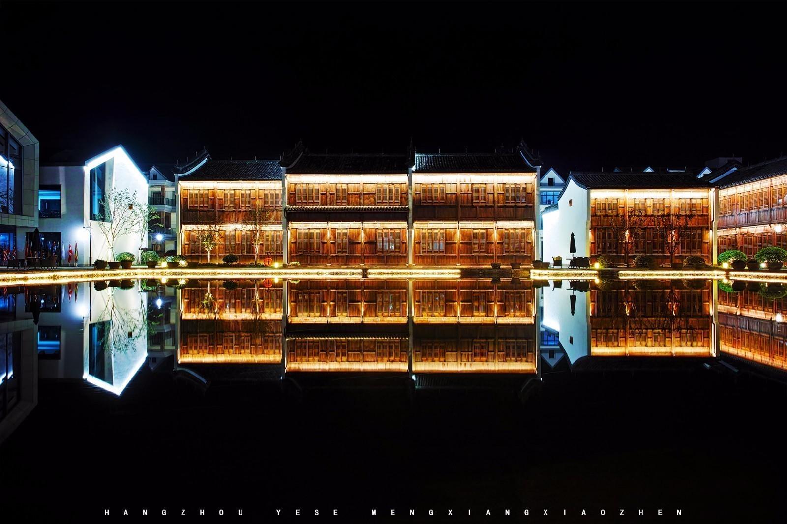 杭州梦想小镇夜晚亮灯显得格外的美丽!
