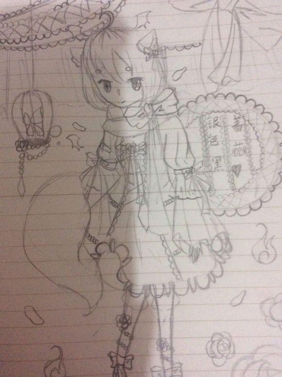 动漫铅笔画连衣裙