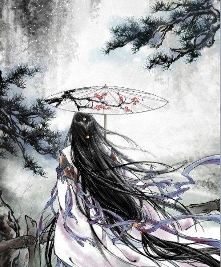 手绘,女子撑伞古风图!最好是背影的