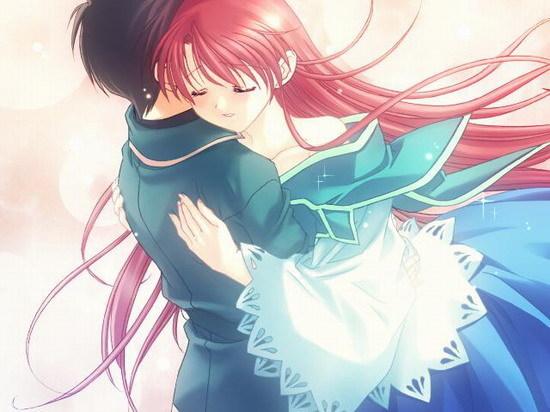 一男一女在学校拥抱(接吻,牵手,并排砖的动漫图片